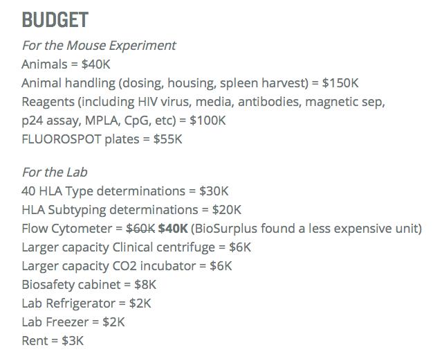 Immunity Project Budget